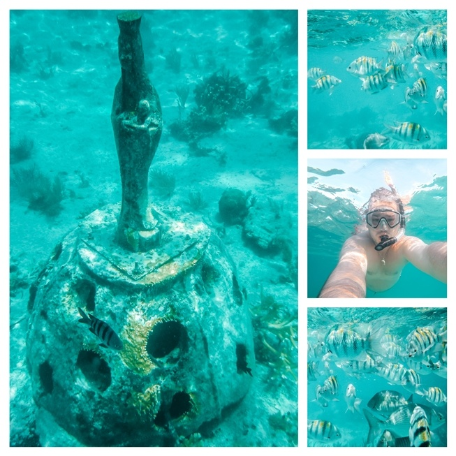 Snorkelling is one of the best things to do in Isla Mujeres because the island has calm waters. Good places to snorkel on Isla Mujeres are Playa Garrafon, the Machines Reef, Bahia Mujeres and El Farito. Last three locations reuire a boat transport.