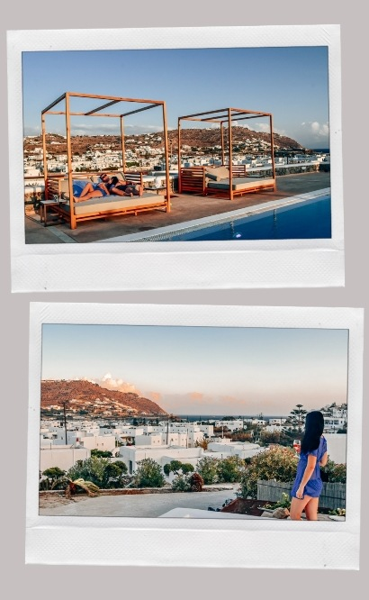 OSOM resort Mykonos pool area hotel review.  Enjoying those famous Cycladic roof top views with a glass of wine at sunset is one of the best things. This luxurios boutique hotel in Ornos offers stunning views of the village