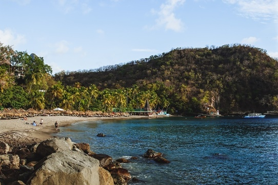 beaches in Saint Lucia: Anse Chastanet is one of the most beautiful beaches in Saint Lucia because this natural curving bay is fringed by palm trees. Anse Chastanet, one of the must-see attractions in Saint Lucia, is located just north of the town of Soufriere. It is an ideal getaway for honeymooners and those looking for a relaxing escape. For snorkeling and diving enthusiasts, easily accessible Anse Chastanet coral reef is in an excellent condition.