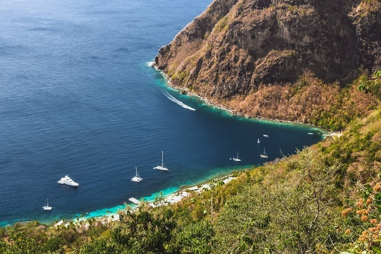 Anse des Pitons is not only home to the picturesque white sand Sugar beach but is also a popular snorkeling site. Renowned for spectacular underwater scenery and several varieties of corals, Anse des Pitons underwater area is protected as a part of the National Marine Reserve.