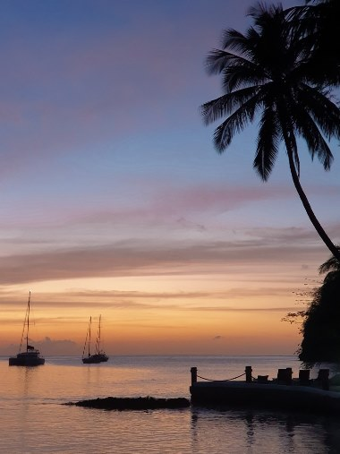 beaches in Saint Marigot bay is a great place to watch the sunset. The best time to visit Marigot Bay is in the late afternoon when sailing excursions leave the popular bay.