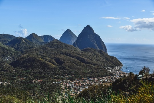 The Pitons, the island`s most photographed landmark, are usually explored by boat or from the coast, however more adventurous spirits prefer to climb to the top. Though 743 m (2,438 ft ) high Petit Piton is the smaller of the two, the small Piton is more dangerous and highly challenging to climb because of its steep sides.
