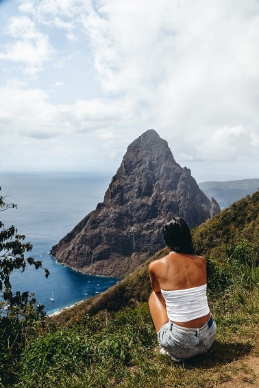 """things to do in Saint Lucia: The Tet Paul Nature Trail offers a picturesque view of the famous Piton Mountains and the Caribbean Sea.  A staircase is known as the """"Stairway to Heaven."""" It leads to a platform with a spectacular 360-degree panoramic view of the countryside and the Pitons."""