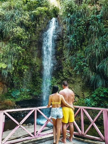 Toraille Waterfall: easily reached from the main road along the way to Fond Jacques rainforest.