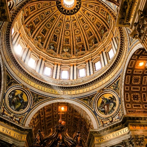 dome inside St Peter`s Basilica Vatican