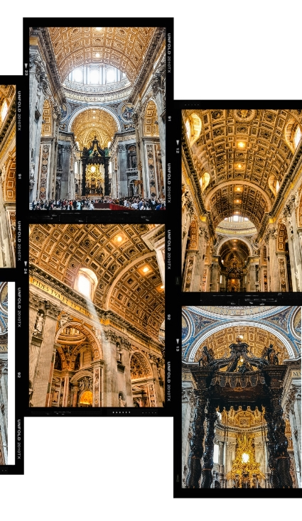 St Peter`s Basilica inside: The most impressive part of St. Peter`s is the dome, designed by Michelangelo. The crowning piece of the basilica has become an inspiration for other cathedrals (e.g. St Paul`s Cathedral in London and the Capitol in Washington).