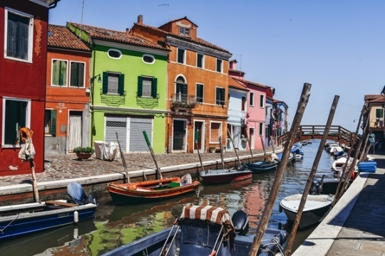 colourful houses and canals