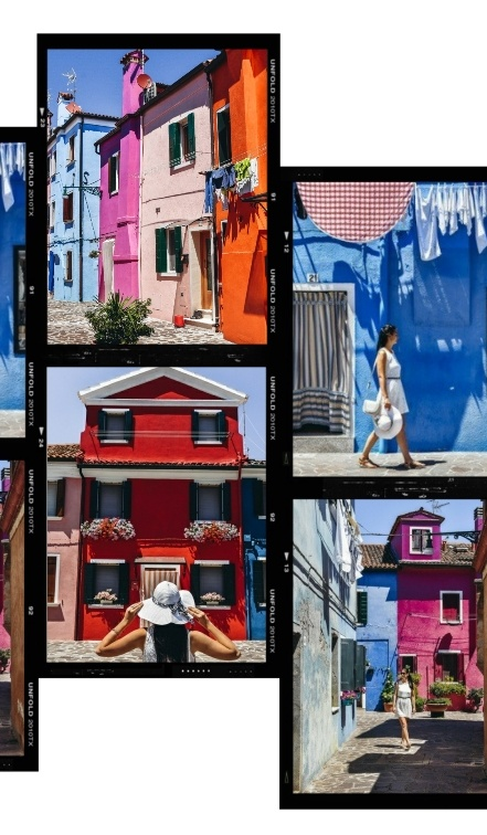 Burano: The tradition of painting houses in Burano continues through the present day. The locals take pride in painting and repainting their rainbow-coloured homes. The consistent colour-coding system, regulated by the local community government, ensures that no two nearby houses will be painted with the same colour. With specific colours permitted in different areas of the island, traditionally, fisherman's island of Burano is a multi-coloured masterpiece.