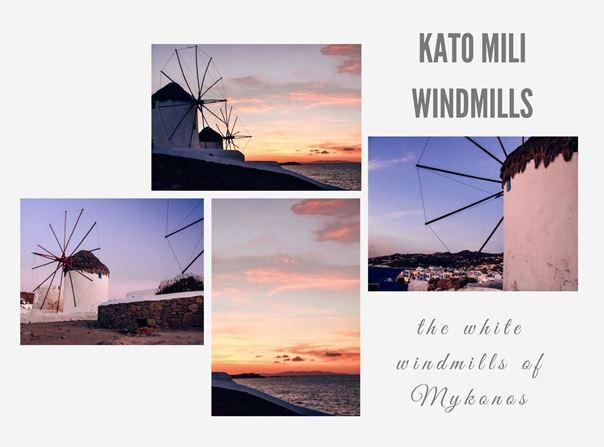 Kato Mili windmills in Mykonos at sunset