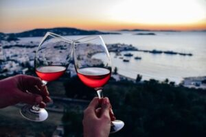 where to watch sunset in Mykonos: 180 Sunset Bar is one of the best places to watch sunset in Mykonos, because it offers beautiful views.