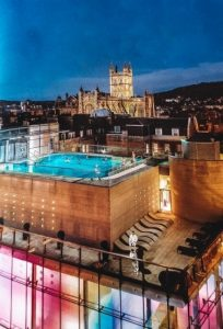what to do in Bath UK: a visit to Thermae Bath Spa is one of the top things to do in Bath in England because it offers the bathing experience. It is one of few places in England where you can take a dip in the thermal waters, which are located across the street from the famous, ancient bath. It is a great way to enjoy the waters as the Romans and Celts did over 2,000 years ago.