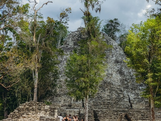 Coba ruins: On any list of the top sight to see in Coba, la Iglesia shouldn`t be far from the top. The second tallest pyramid at Maya ruins of Coba is hidden in the jungle and almost completely overgrown with the vegetation.
