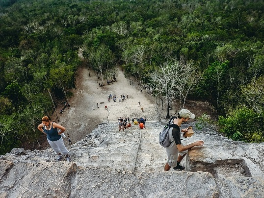 Coba ruins climbing: There are not many places where you can climb a Maya pyramid anymore. Because Coba does not see as many tourists as places like Chichen Itza or Tulum, you can actually still climb some of the structures for a unique perspective.