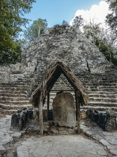 Maya calendar stone: Coba is home to numerous Stelae. A collection of large flat stones with detailed drawings and writing representing crucial moments from the ancient life in Coba is nowadays preserved and protected.