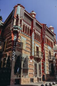 Casa Vicens Gaudi Barcelona building: . Casa Vicens is the first private residence of this famous architect. A castle-style townhouse was a home for the wealthy family owning a ceramic factory.