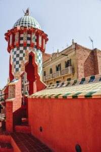 Casa Vicens Gaudi building in Barcelona: The attractive building is undoubtedly the first place where Gaudi started to develop his unique style. Moreover, Casa Vicens is the first Art Nouveau building in the world. Moorish and Oriental architecture influenced Antoni Gaudi when designing this house.