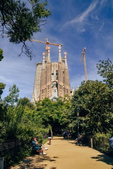 La Sagrada Familia Gaudi architecture: A Roman Catholic basilica dedicated to the Holly Family is the most famous Gaudi's design.