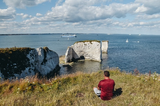 things to do in Dorset: A walk to Old Harry Rocks is one of the best things to do in Dorset because this famous rock formation offers beautiful panoramic views. Also, constantly eroding Old Harry Rocks are part of the Jurassic Coast.