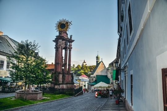 things to do in Banska Stiavnica: explore the Holy Trinity Square because you can find the Church of St Catherine here. Also the Holy Trinity square in Banska Stiavnica is home to a plague column with the Holy Trinity Sculpture and this famous square is lined with palaces with belonged to rich miners.