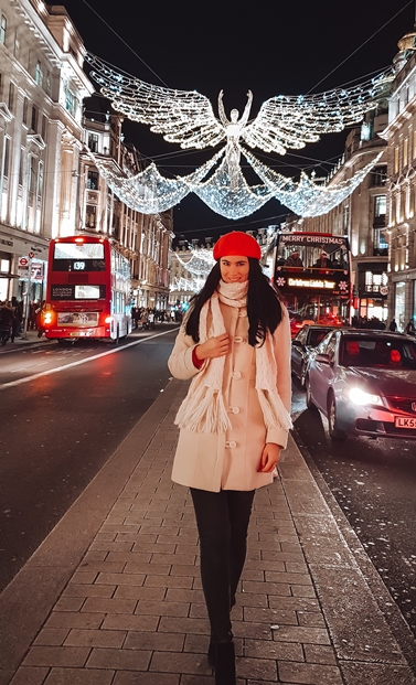 Regent Street at Christmas in London: The installation, inspired by Regen street's very first Christmas light scheme, is undoubtedly an unmissable thing to see during Christmas in London. The largest light installation in the country, with giant golden angels shining over central London, is an iconic sight.