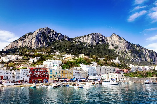 Marina Grande, Capri island: This charming harbour is also a place where are many restaurants, souvenir shops, and tourist offices located. It`s a point of departure for many boat tours, and a bus to Anacapri also leaves from here.