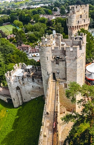 things to do in Warwick: Exploring Warwick Castle towers is one of the best things to do in Warwick, because they offer unforgettable views of the castle and nearby countryside.