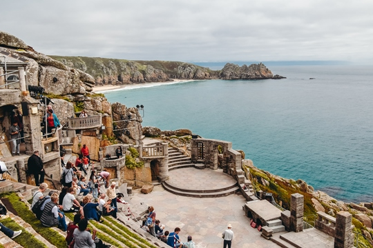 places to visit in Cornwall: Open-air Minack Theatre is one of the gorgeous places to visit in Cornwall because you can catch a show at the theatre under the stars and watch a live performance with fantastic ocean views.