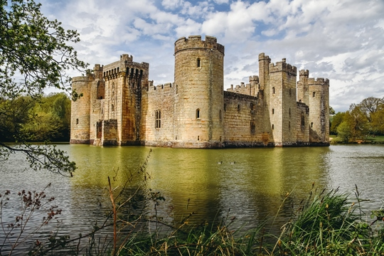 best castles in England: Bodiam Castle is an absolute must for anybody who wants to explore the best castles in England, because this 14th-century moated castle is one of the best-loved British castles. It has a dramatic setting, remote location and looks like something out of a fairy-tale.