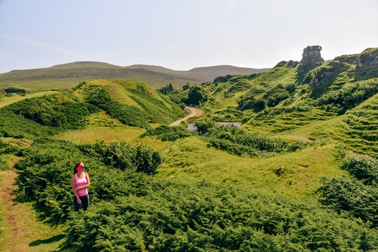 things to do in Isle of Skye: Admiring Fairy Glen is one of the best things to do in the Isle of Skye because a landslip created a unique landscape with small symmetrical hills and pinnacles. Hike up tiny hills and explore unusual geological formations. Visit one of the tallest hills, Castle Ewan and enjoy beautiful views of the area.