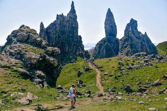 Isle of Skye attractions: The Old Man of Storr, also known as the Storr, is one of the best Isle of Skye attractions. This impressive rock formation offers stunning views and also some of the best photo opportunities on the island. Therefore, it is easy to see why it is one of the top Isle of Skye attractions.