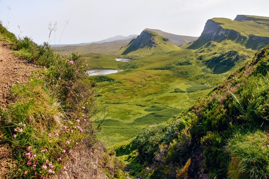Isle of Skye attractions: It is easy to see why the Quiraing walk is one of the famous Isle of Skye attractions. It has breathtaking views of mountains and lochs and is steep in natural beauty and also history. The trail is long, but it will leave you speechless.