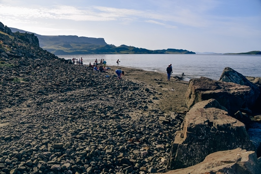 things to do in the Isle of Skye: Exploring Staffin beach is one of the best things to do in the Isle of Skye because you can find Dino footprints here. Yes, that is right, dinosaurs crossed Staffin beach millions of years ago.