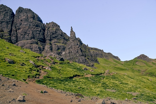 Old Man of Storr walk: The Old Man of Storr walk from the car park to the Storr can be strenuous when raining and foggy. The trail will lead you through the grassland up to the rocks. The well-marked hiking trail gets rougher and steeper as you come closer to rocks. The Old Man of Storr walk is a challenging hike, but it offers unforgettable views of the Storr.